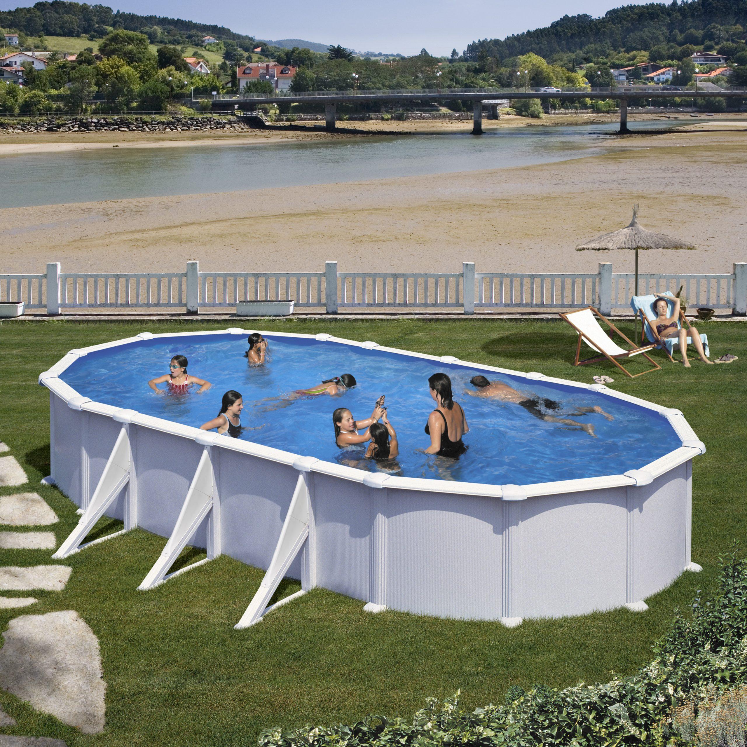 Piscine Acier Atlantis 7,30X3,75X1,32M Ovale Blanche - Gre destiné Piscine Acier Ovale