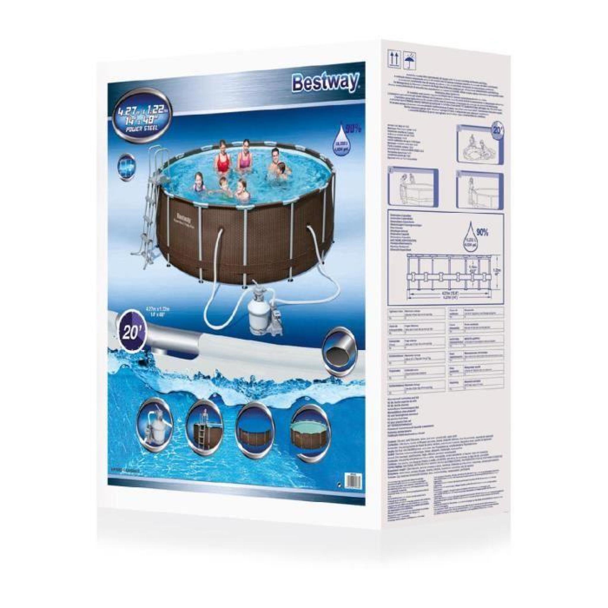 Piscine Autoportante Tubulaire Rattan Steel 4M27 *1M22 - Bestway Uni Marron intérieur Piscine Tubulaire Rectangulaire 1M22