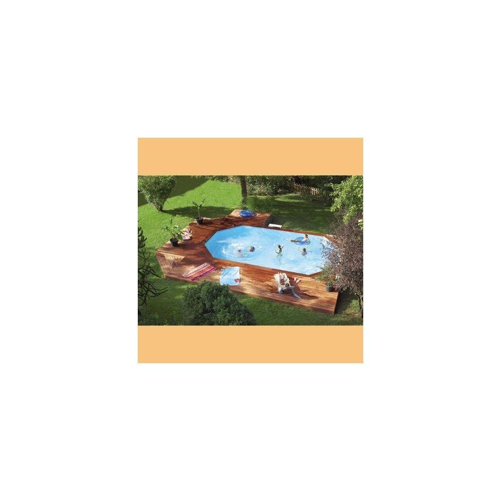 Piscine Bois Octo+ Pro Cerland - 8.40M X 4.85M - Margelle Composite avec Piscine Enterrable
