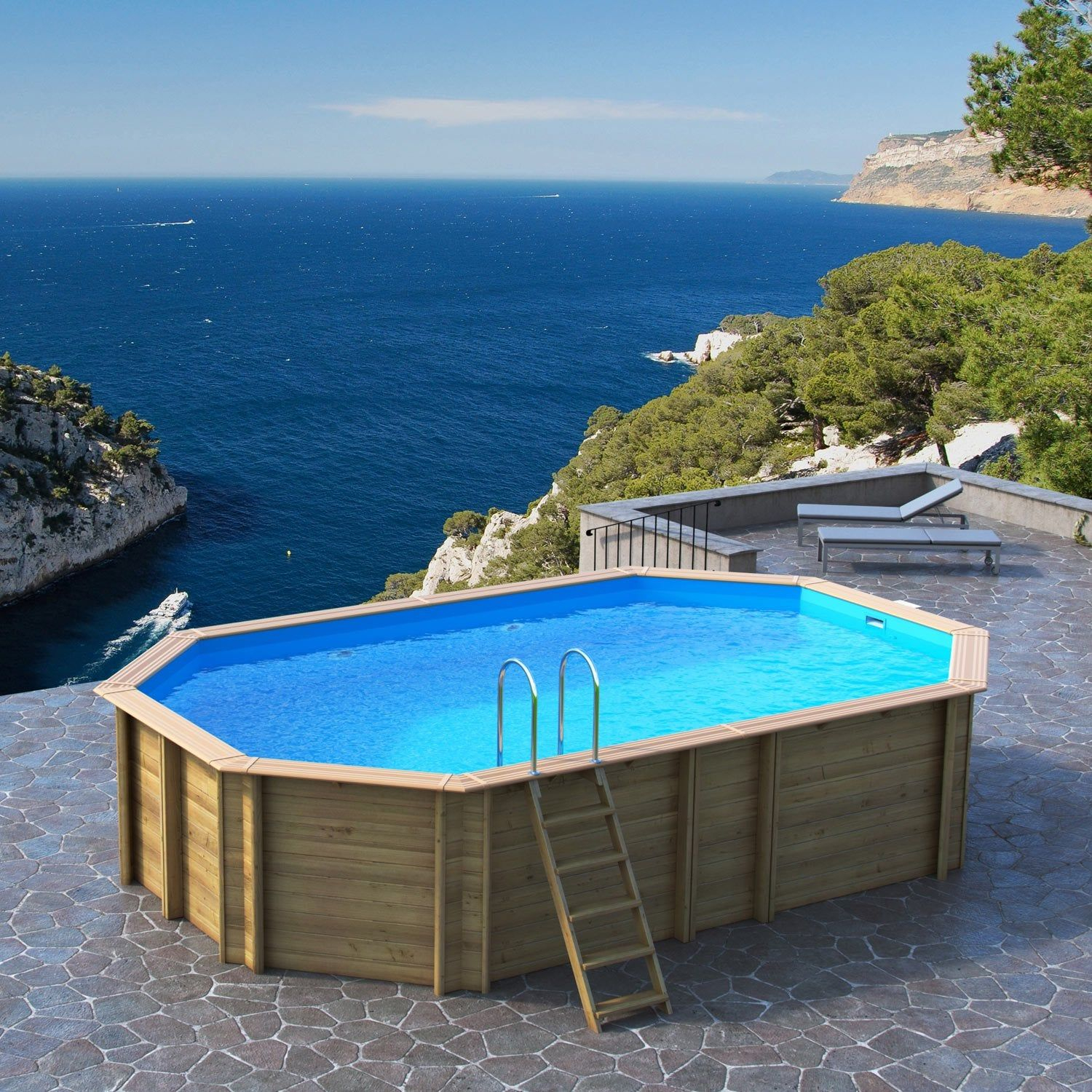 Piscine Bois Odyssea By Proswell Bwt Mypool, L.6.4 X L.4.01 ... encequiconcerne Piscine Proswell