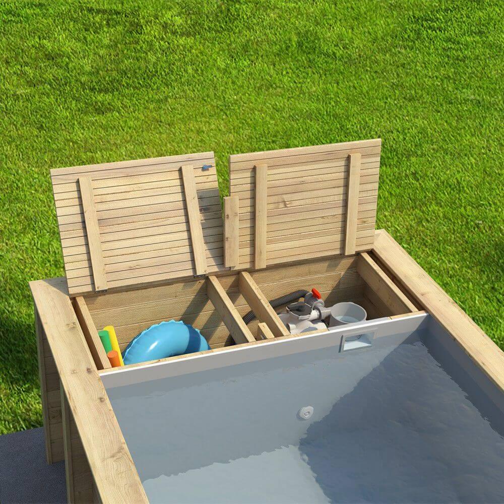 Piscine Bois Pool'n'box 500 X 200 X H 133 Cm - Avec Coffre De Filtration destiné Coffre Piscine