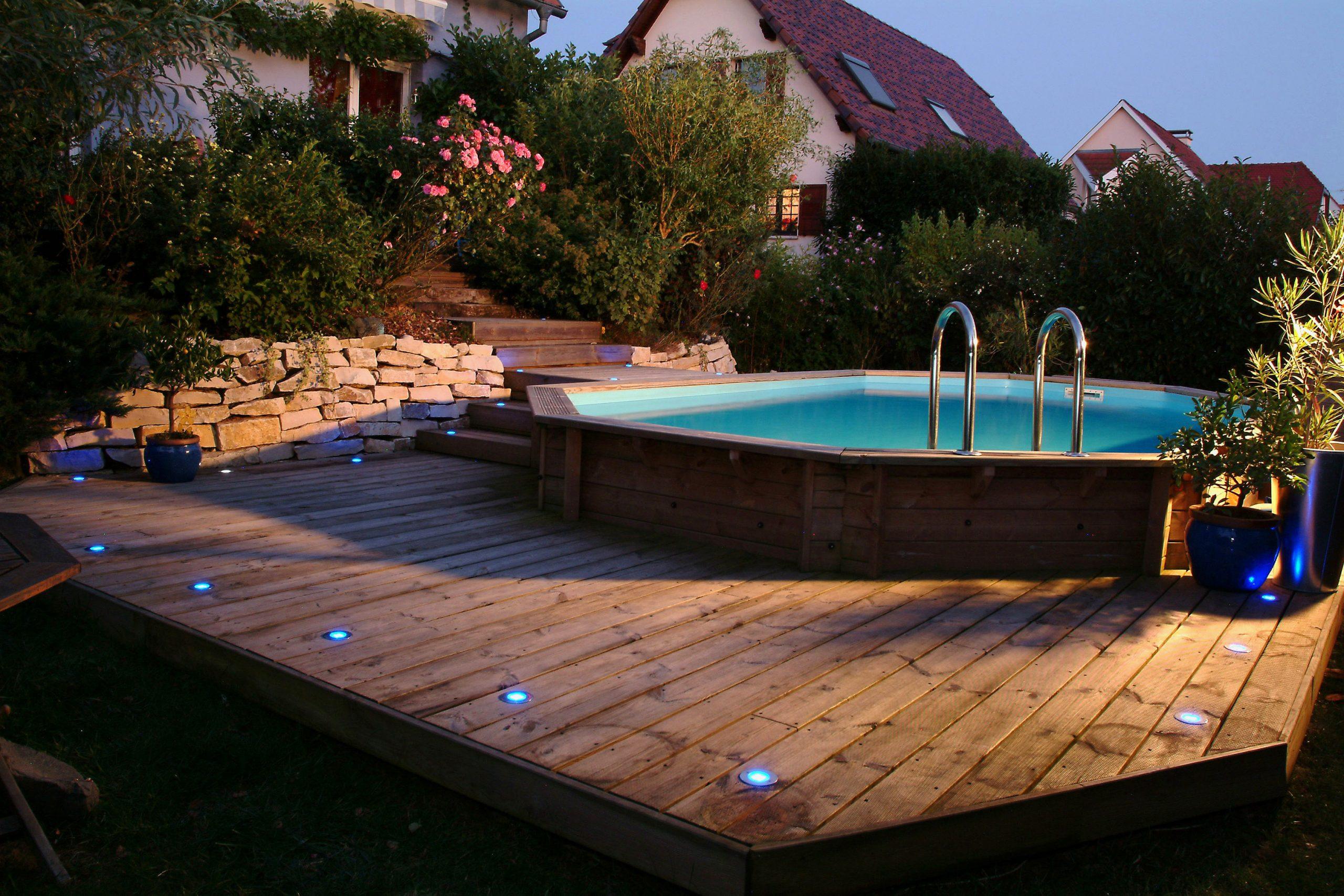 Piscine Bois Sunwater 490X300X120 Cm Liner Bleu tout Piscines Semi Enterrées