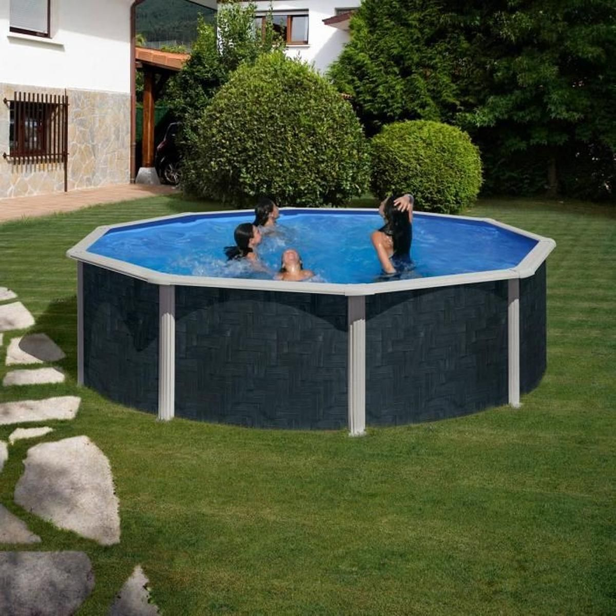 Piscine Hors-Sol Acier Aspect Bois Rattan 460 X 120 Cm Gris ... intérieur Solde Piscine Hors Sol
