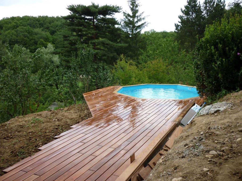 Piscine Hors Sol Avec Terrasse En Bois Exotique À ... concernant Piscine Hors Sol Composite