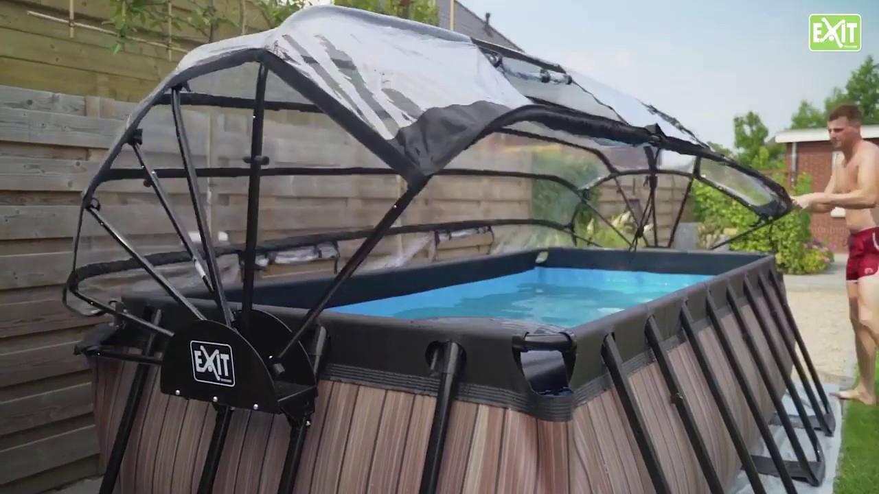 Piscine Hors-Sol Tubulaire Rectangulaire Exit Toys 4 X 2 M Et Dôme De  Protection destiné Dome Piscine Hors Sol