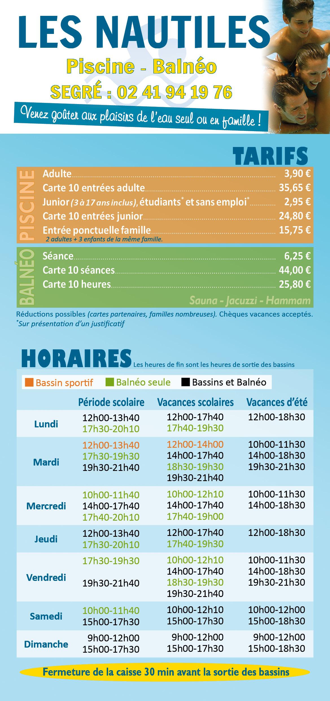 Piscine Les Nautiles - Segré En Anjou Bleu intérieur Piscine Savenay Horaire