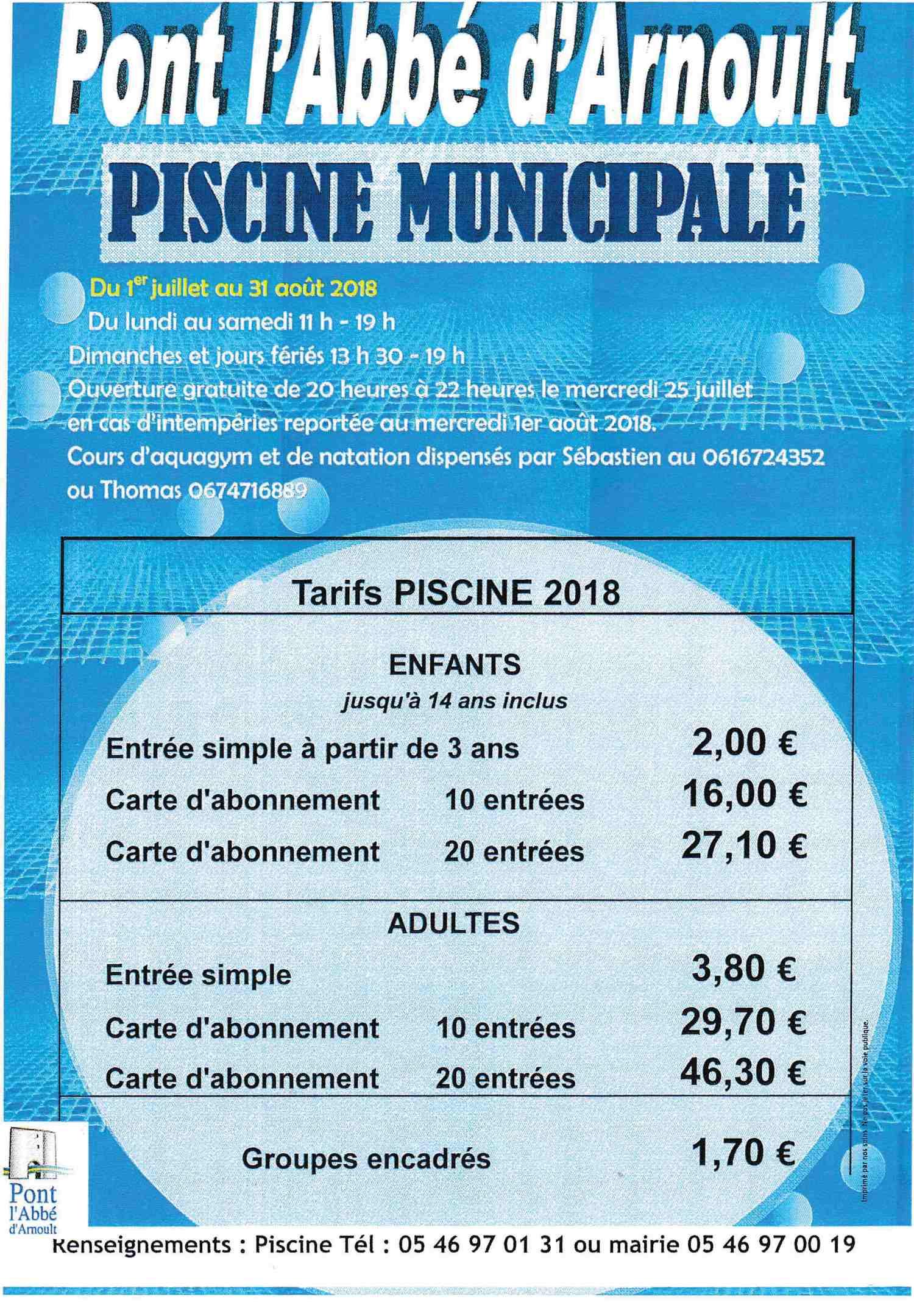 Piscine Municipale 2018 - Site Officiel De La Mairie De Pont ... tout Piscine Pont L Abbé