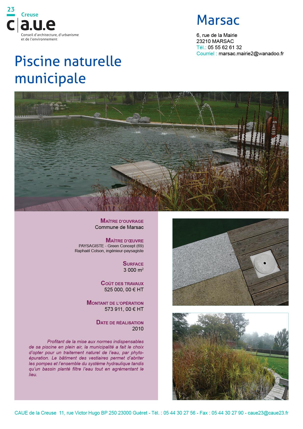 Piscine Naturelle Municipale De Marsac – Caue 23 destiné Piscine De Gueret