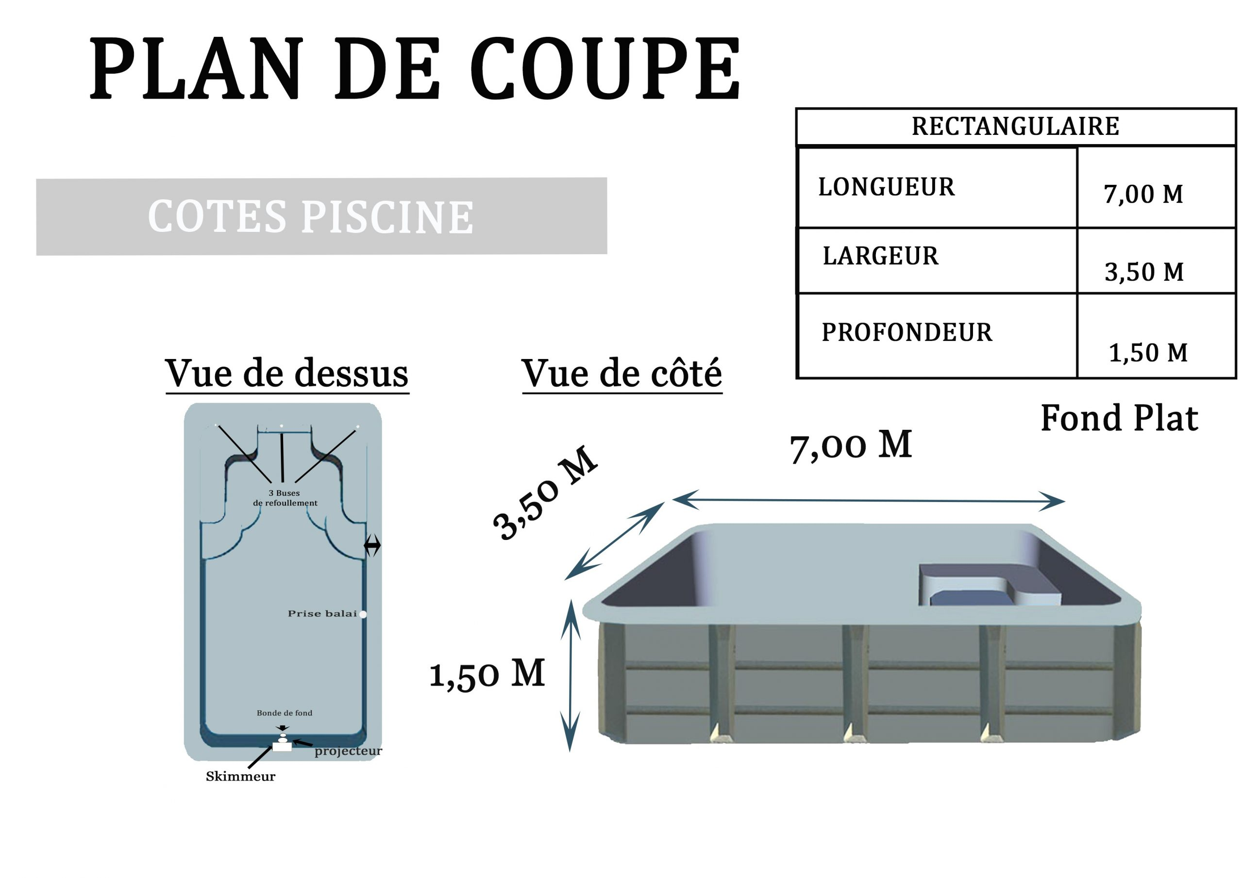 Piscine Polyester Rectangulaire 700 destiné Plan De Coupe Piscine