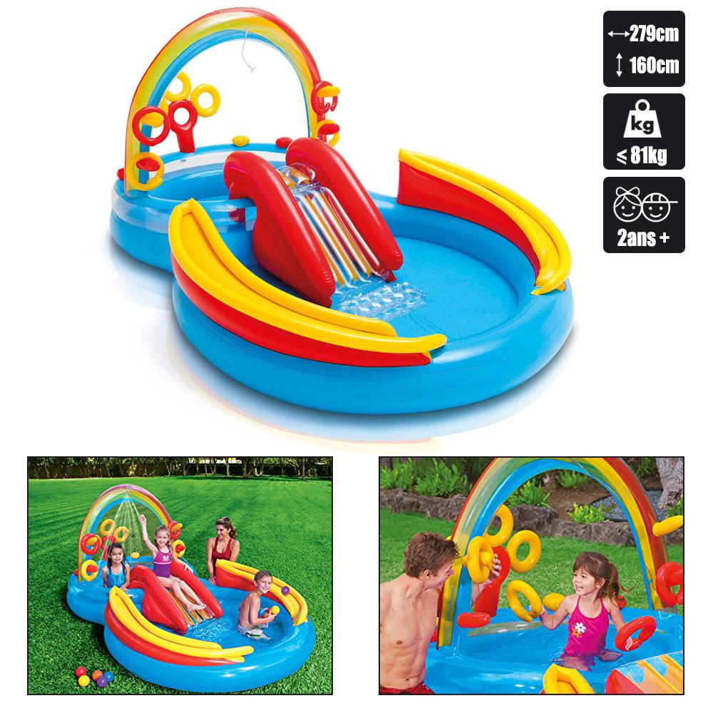 Piscine Pour Enfants Intex Rainbow Ring Play Center destiné Piscine Enfant Pas Cher