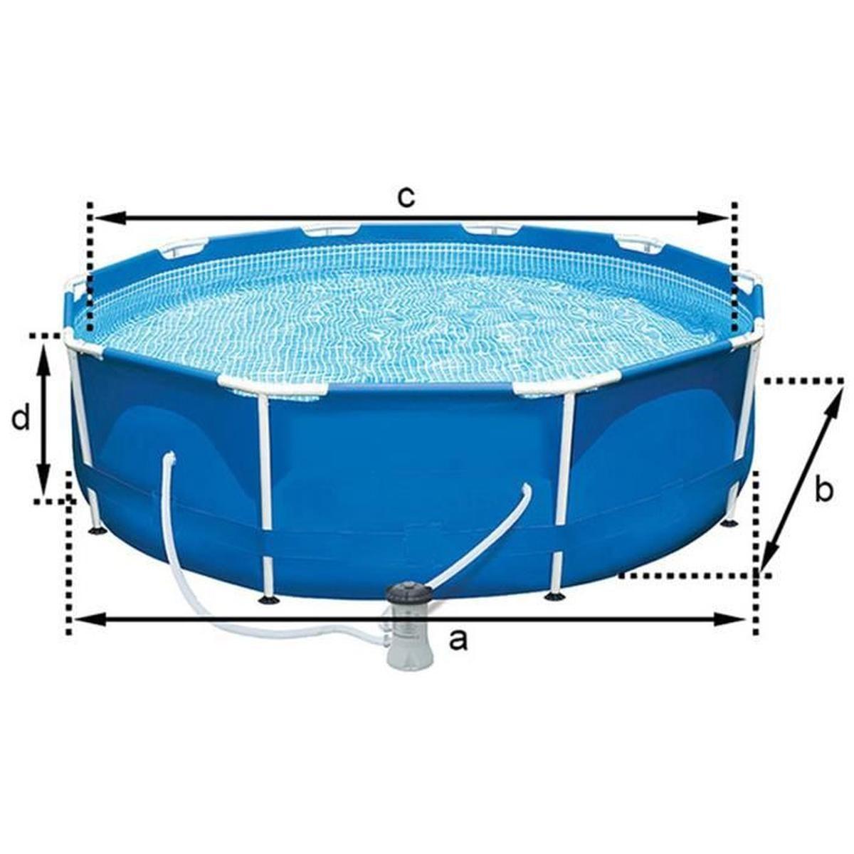 Piscine Tubulaire Coloris Bleu Dim : H76 X D305 Cm dedans Piscine Tubulaire Cdiscount