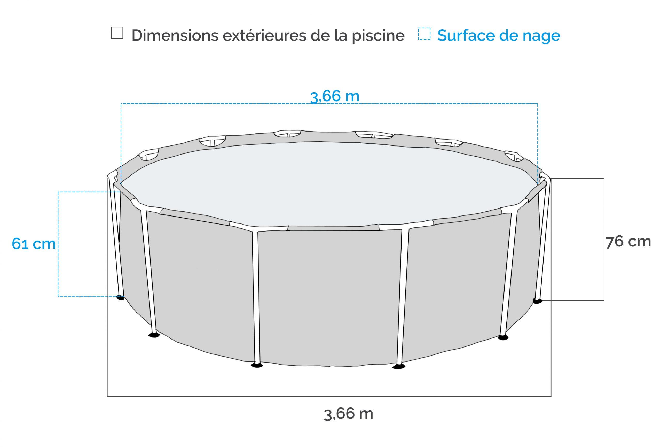 Piscine Tubulaire Intex Metal Frame 3.66 X 0.76M Avec Épurateur dedans Bache Piscine Tubulaire 3.66