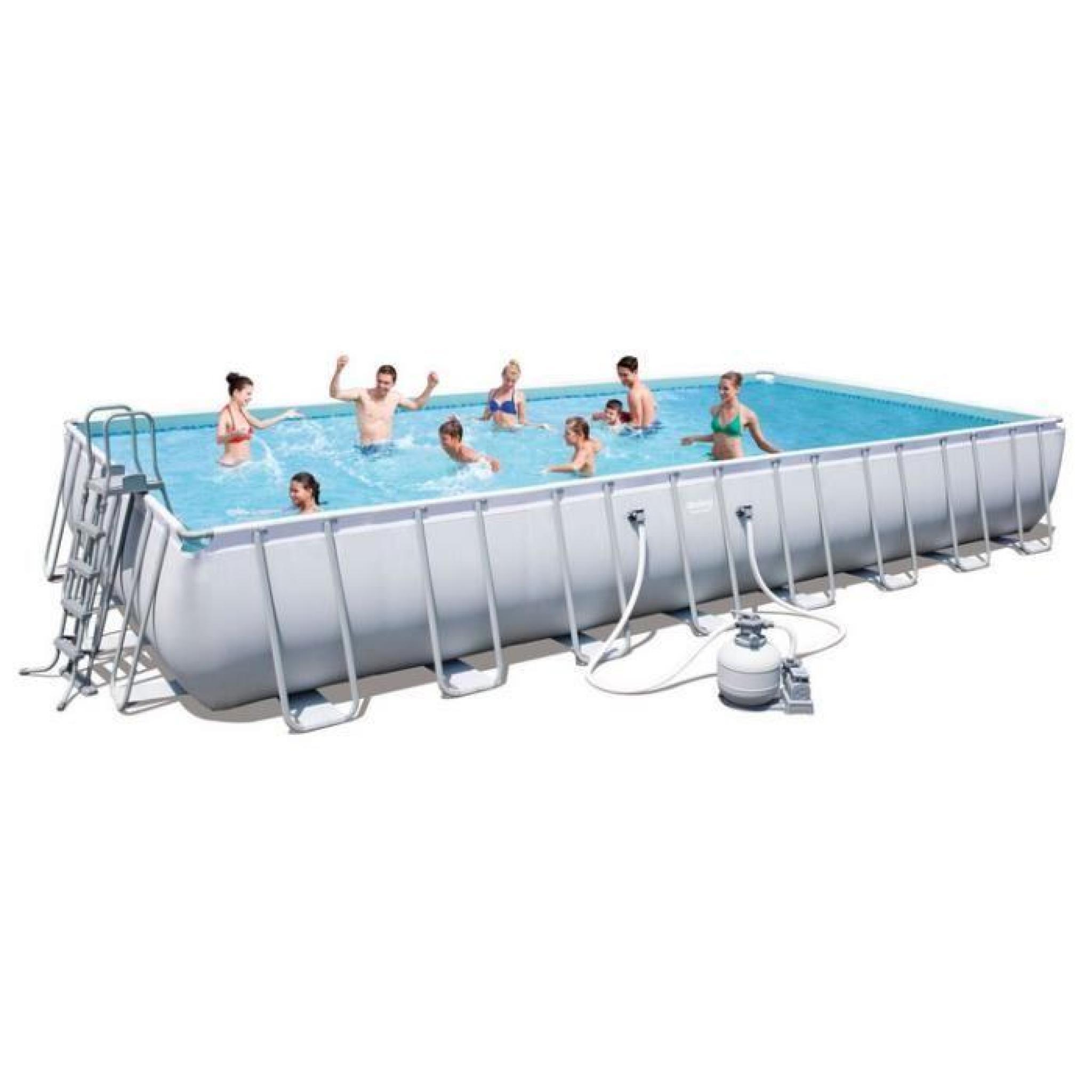 Piscine Tubulaire Rectangulaire Power Steel Frame Pools 956X488X132Cm Avec  Filtre À Sable pour Piscine Rectangulaire Tubulaire Pas Cher