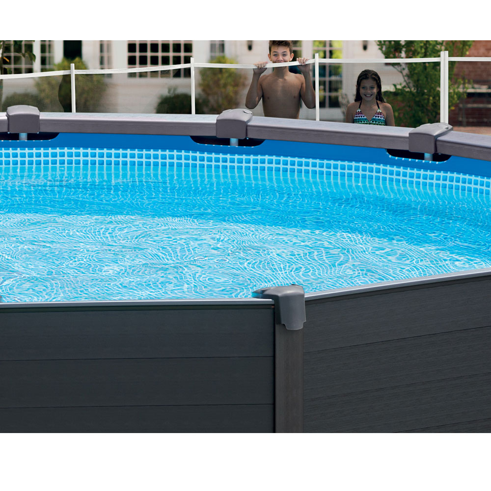 Piscine Tubulaire Ronde Intex Graphite 4,78 X 1,24M serapportantà Piscine Hors Sol Intex Tubulaire