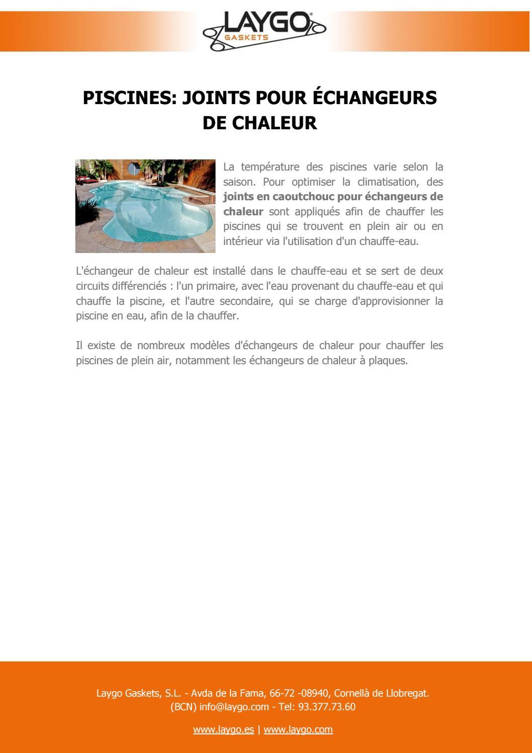 Piscines: Joints Pour Échangeurs De Chaleur By Laygo Gaskets ... concernant Chauffer Une Piscine