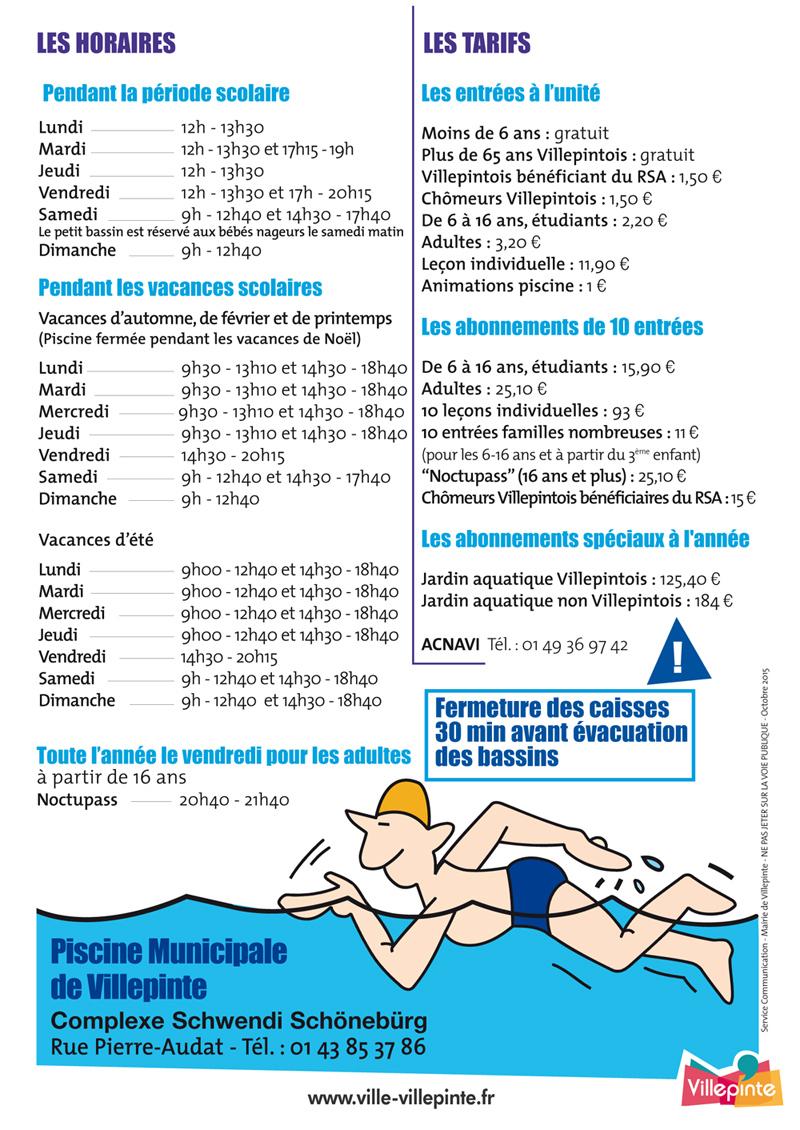Piscinetarifsnov2015 - Ville De Villepinte concernant Piscine De Villepinte