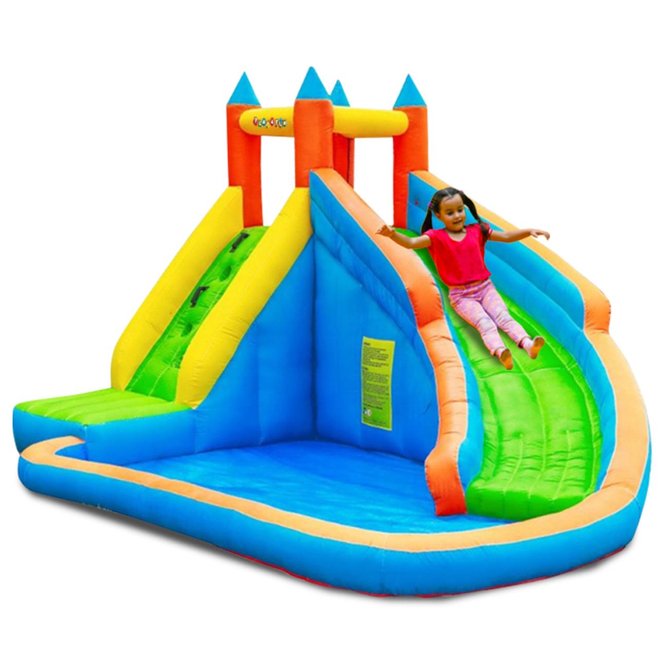 Play4Fun Château Aquatique Gonflable Pour Enfants 4M - Aire De Jeux Avec  Escalade, Tobbogan Et Piscine - Play4Fun intérieur Aire De Jeux Gonflable Piscine