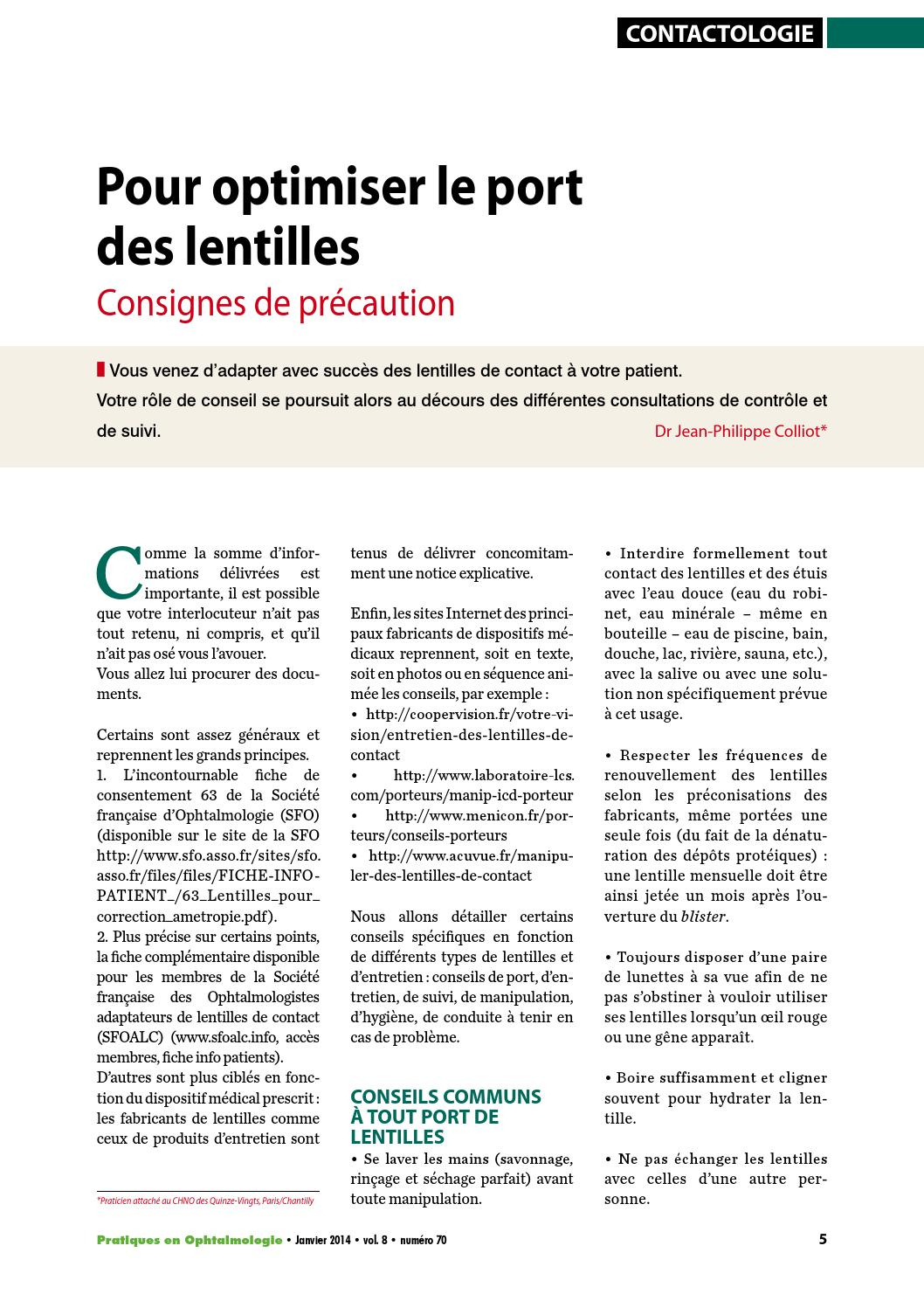 Po70 05A09 Contacto By Expressions Pharma - Issuu intérieur Lentilles Piscine