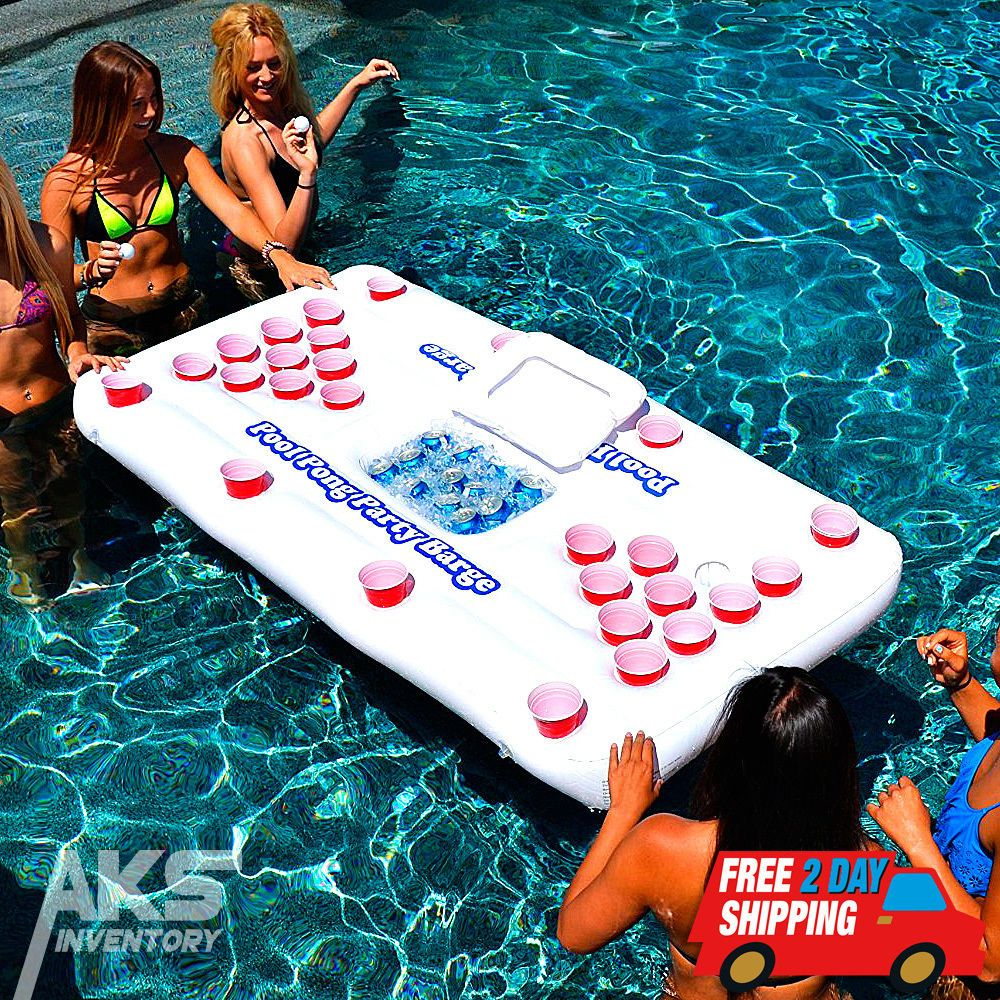 Pool Beer Pong Party Barge Floating Table Inflatable Raft ... concernant Beer Pong Piscine
