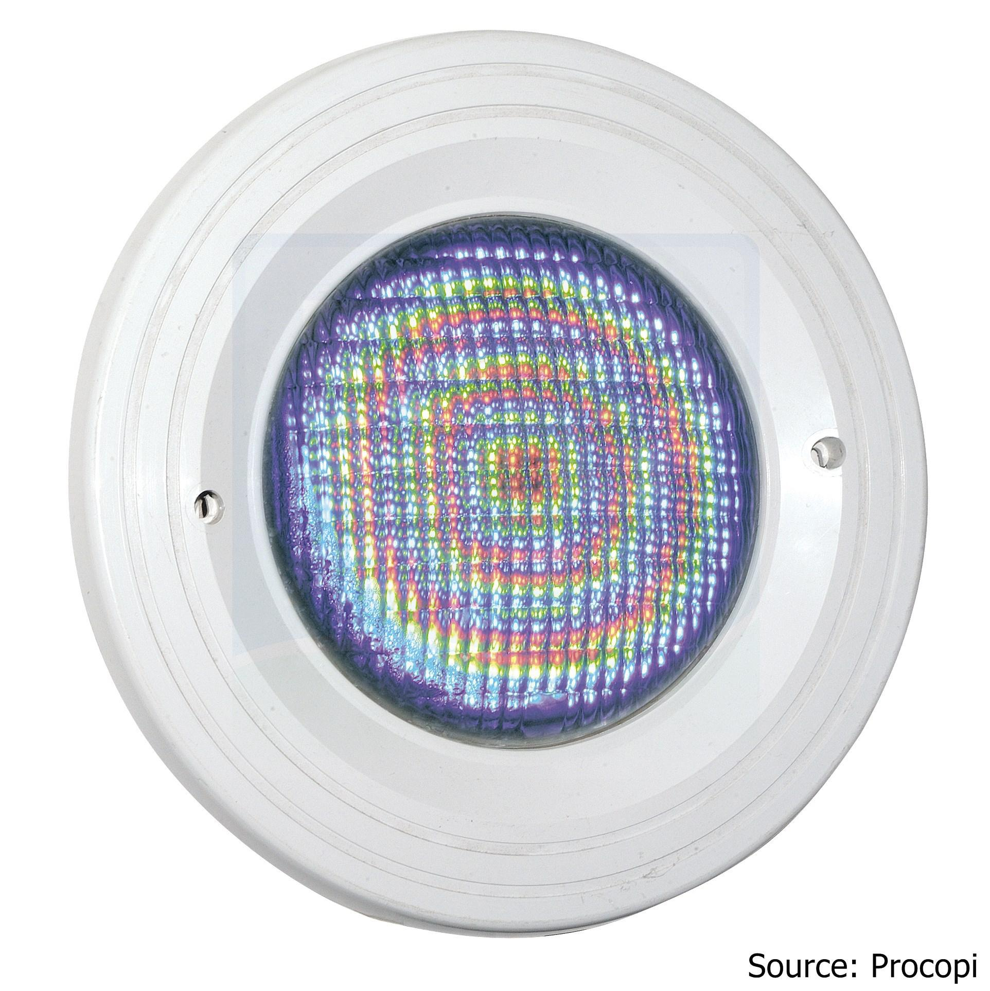 Projecteur À Led Couleurs - Aquareva Pl-06-V-M - 18 W - 12 V Avec  Télécommande Pour Piscine En Maçonnerie Liner - Blanc - H2O Piscines & Spas encequiconcerne Projecteur Led Piscine