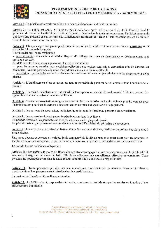 Reglement Interieur Piscine - Les Campelières pour Piscine Campelières