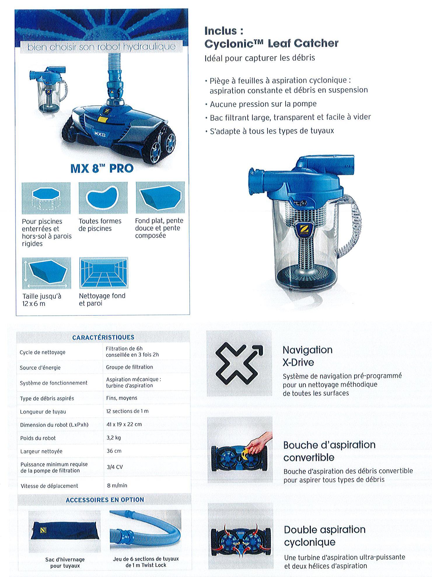 Robot Nettoyeur Hydraulique Mx8 Pro - Zodiac - Jp Moreau ... pour Robot Piscine Zodiac Mx8