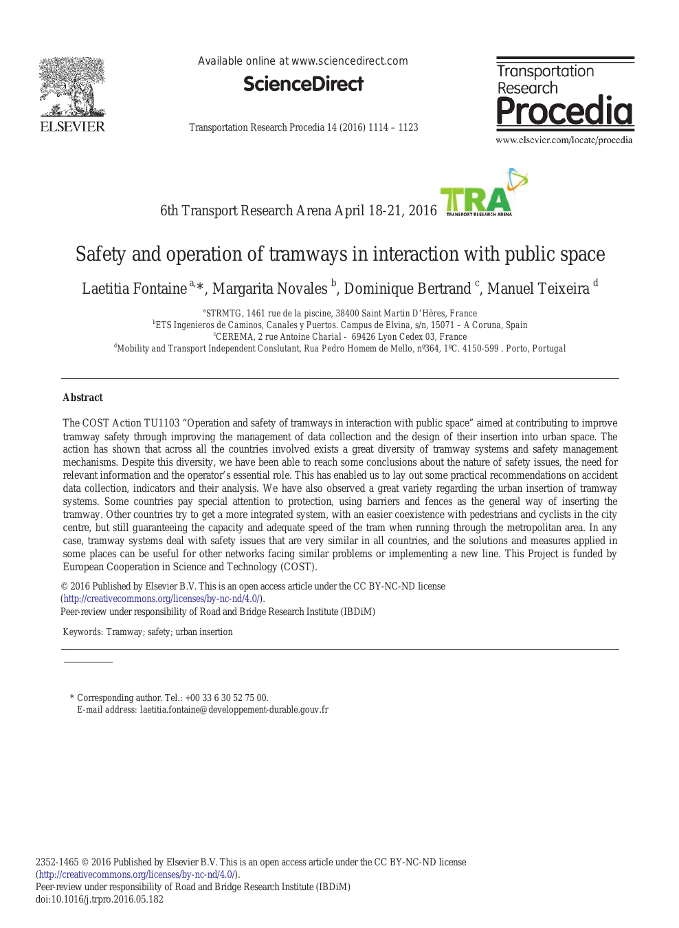 Safety And Operation Of Tramways In Interaction With Public ... avec Piscine Charial