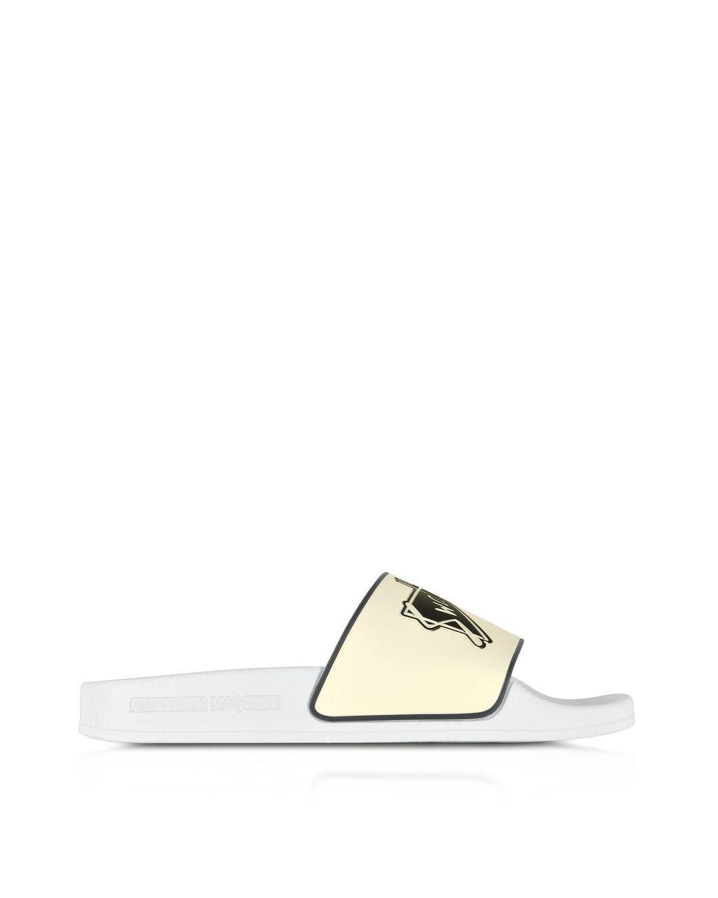 Sandales De Piscine En Caoutchouc Blanc Avec Imprimé Swallow dedans Sandales De Piscine