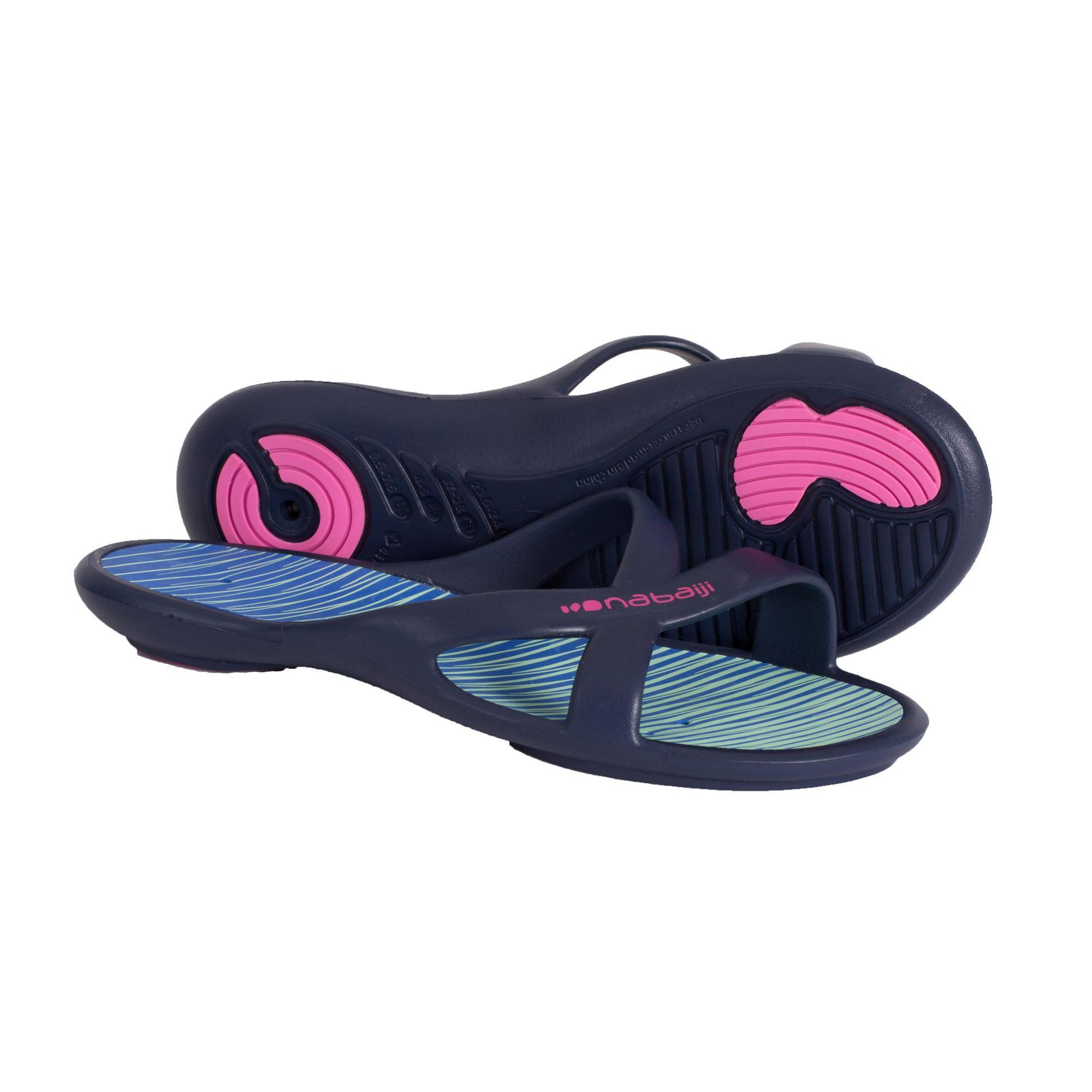 Sandales De Piscine Femme Slap 500 Lay Bleu Vert dedans Sandales De Piscine
