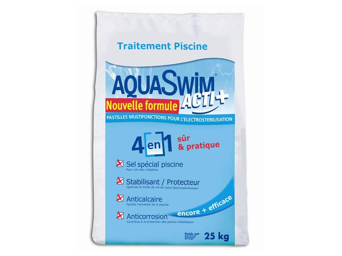 Sel De Piscine Pour Électrolyse Aquaswim Acti + 4 En 1 - 25 Kg concernant Sel De Piscine