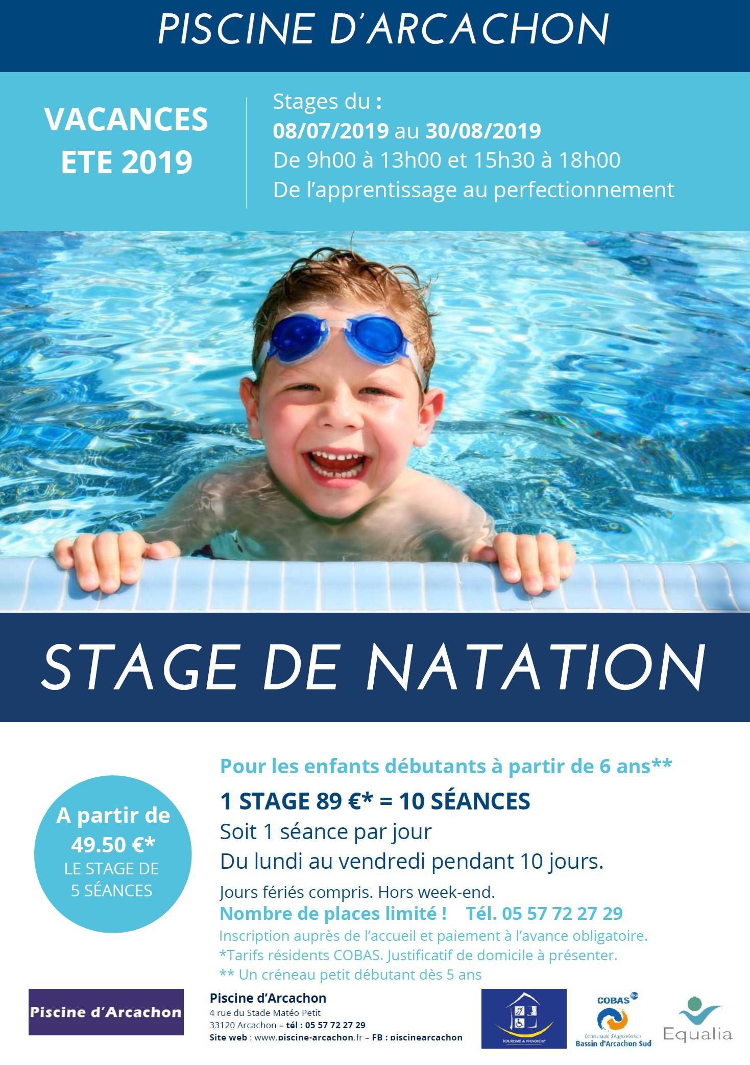 Stage De Natation Pendant Les Vacances D'été 2019 - Piscine ... concernant Piscine Arcachon Horaires