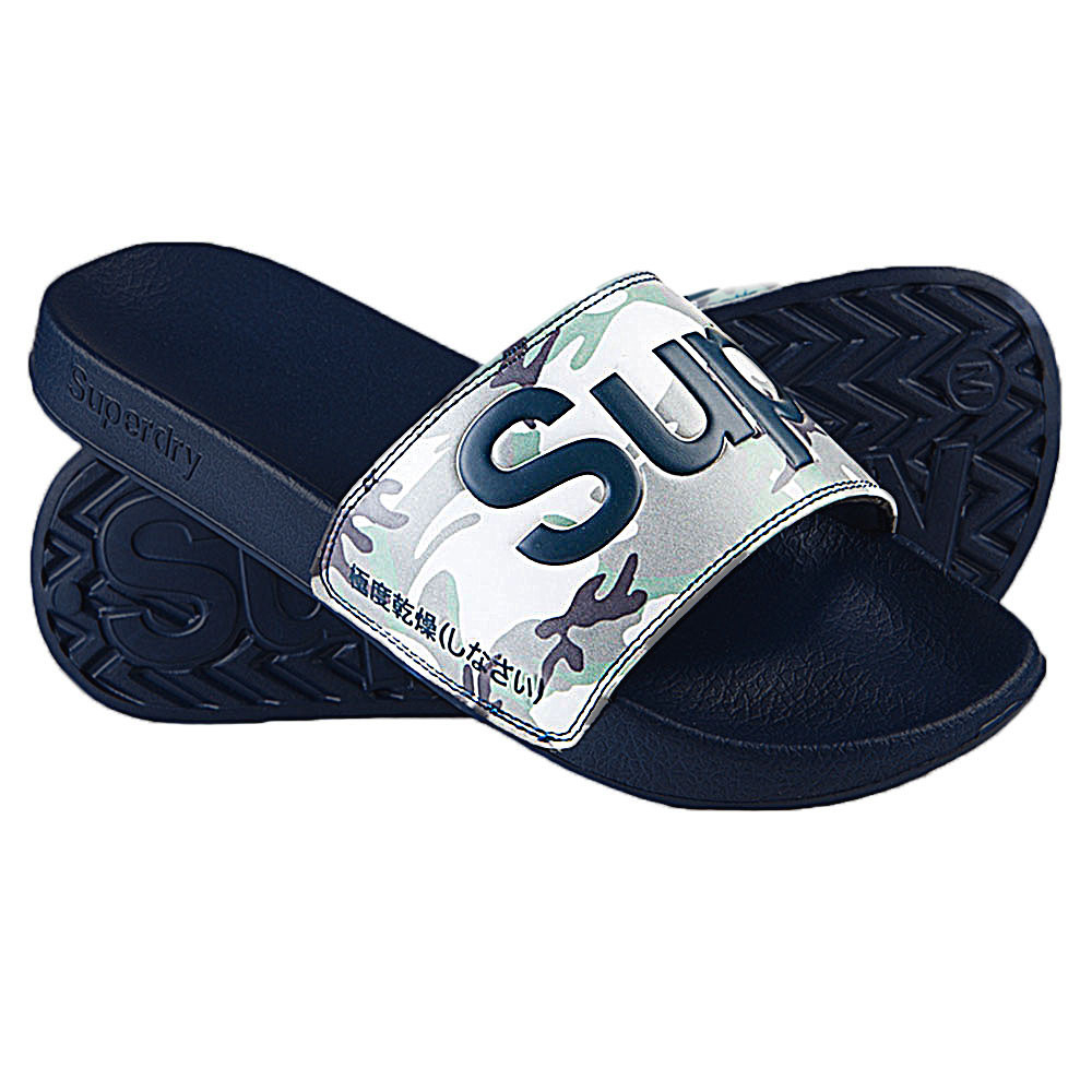 Superdry Pool Slide Sandale Piscine Homme Superdry Bleu Pas ... dedans Sandales De Piscine