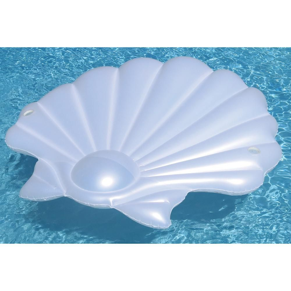 Swimline 72 In. Pearl Seashell Island Pool Float, White avec Piscine Coquillage