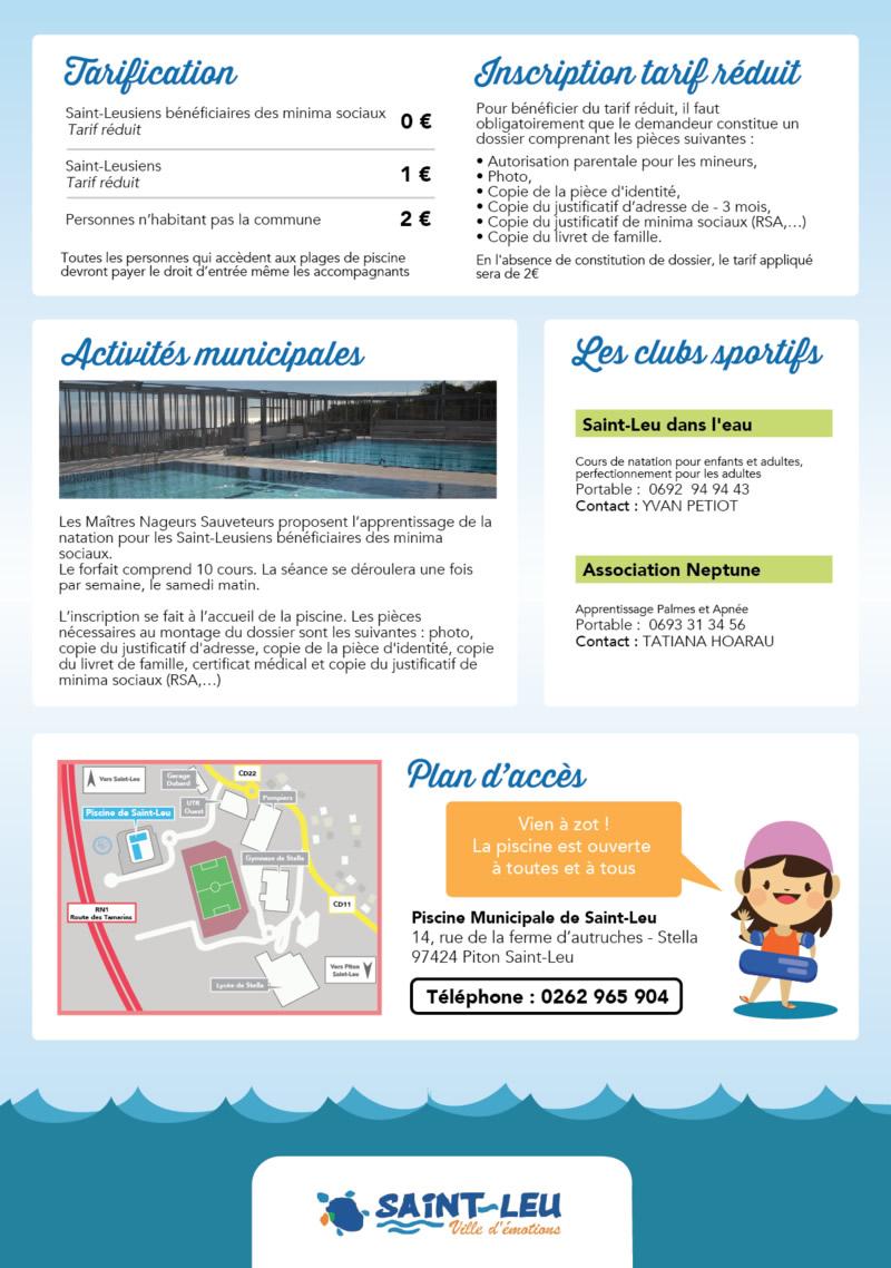 Tarifs, Horaires, Activités De La Piscine Municipale De ... destiné Piscine Saint Leu La Foret