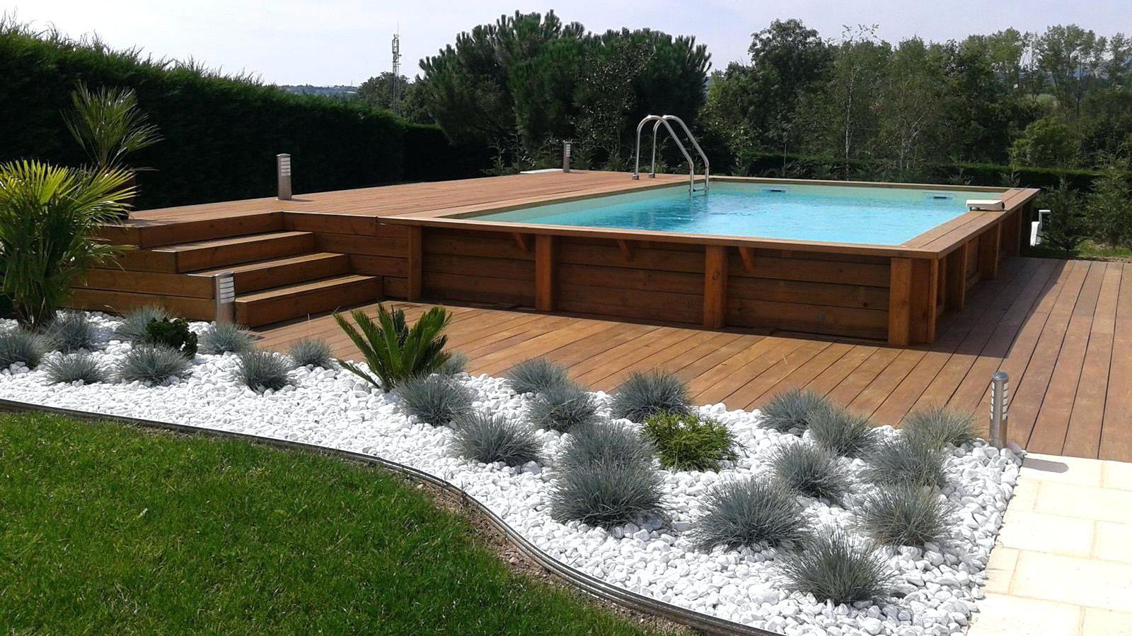 Terrasse Bois Piscine Hors Sol Et Enterrace Exemple Chantier ... à Piscine Hors Sol Composite