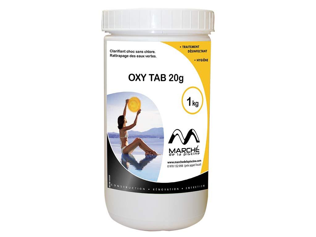 Traitement Piscine Oxygène Actif Oxytab Marchedelapiscine Tablettes 20G En  Pot 1Kg intérieur Traitement Piscine Oxygène Actif