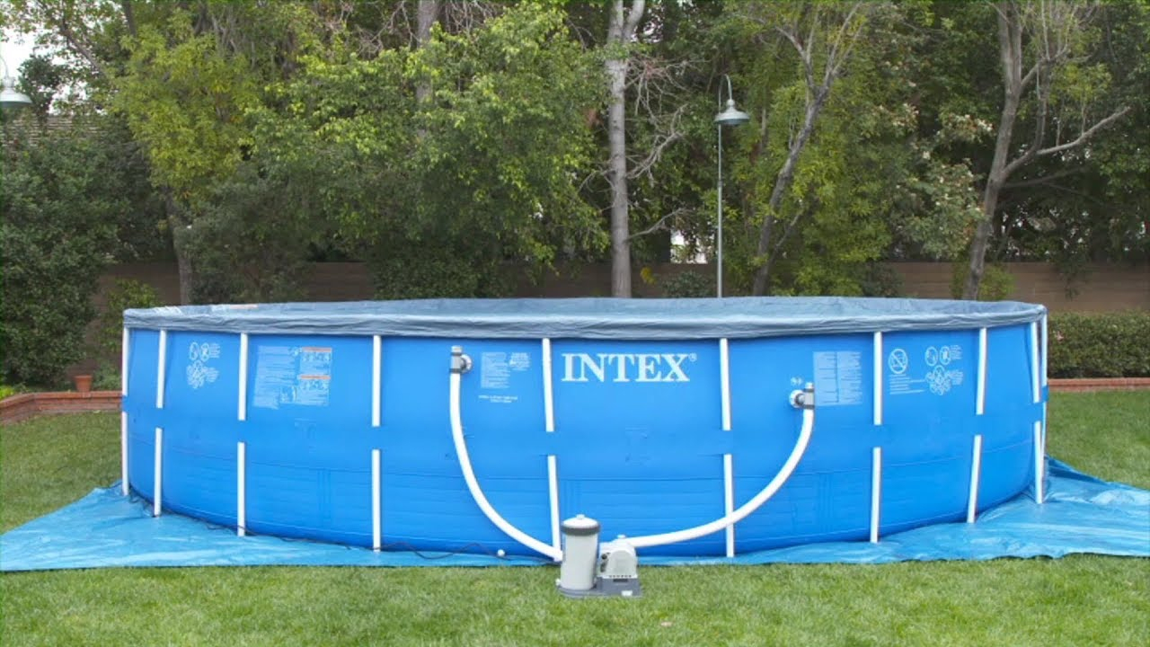 Tuto Intex - Installation Piscine Metal Frame Grand Modele Intex serapportantà Modele Piscine