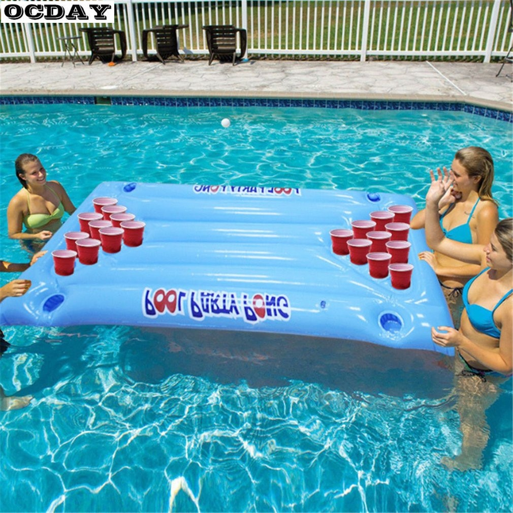 Us $18.41 31% Off|Inflatable Beer Pong Float Table Water Floating Swimming  Pool Raft Lounge Pvc Floating Raft Drinking Game With 24 Cup ... intérieur Beer Pong Piscine