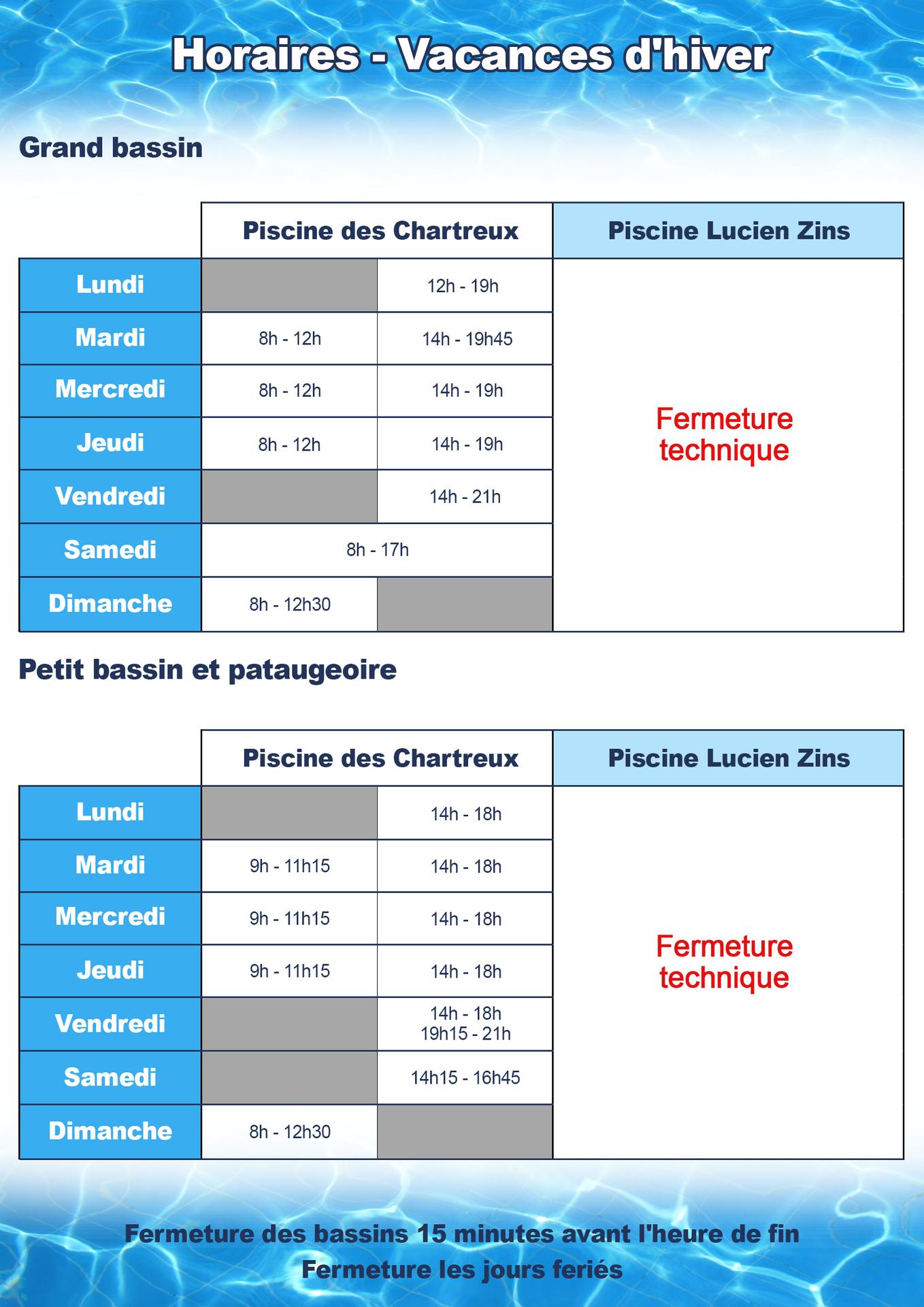 Vacances Scolaires - Accueil pour Piscine Des Chartreux