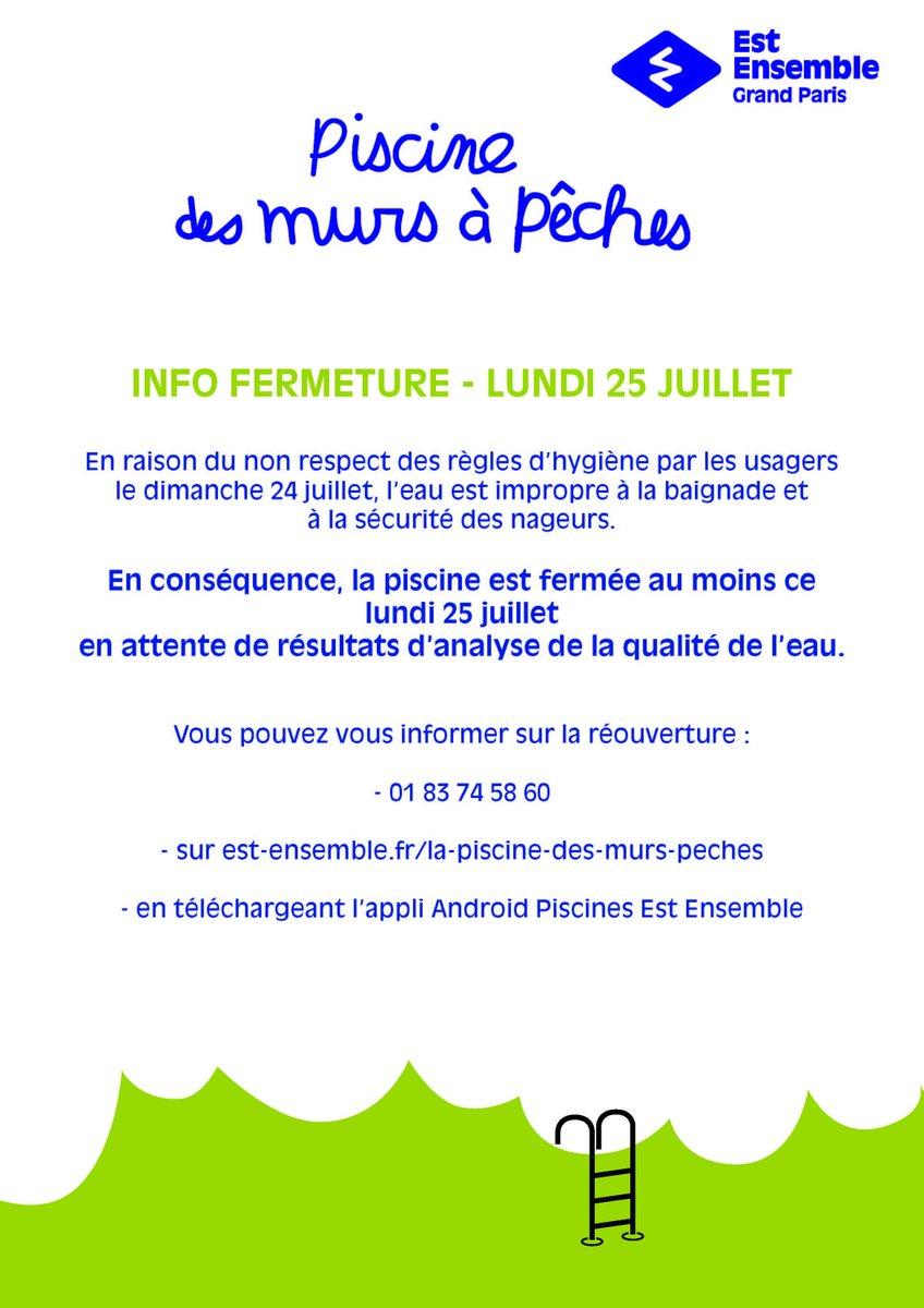 "Ville De Montreuil On Twitter: "" Fermeture: Piscine Des ... pour Piscine Des Murs À Pêche Montreuil"