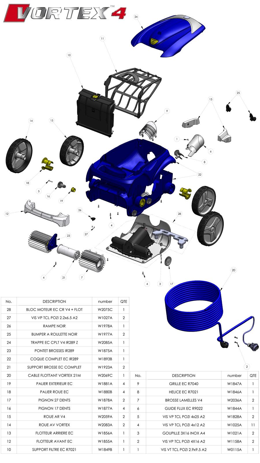 Vue Éclatée Robot Vortex 4 | Coté Eau tout Robot Piscine Zodiac Vortex 4