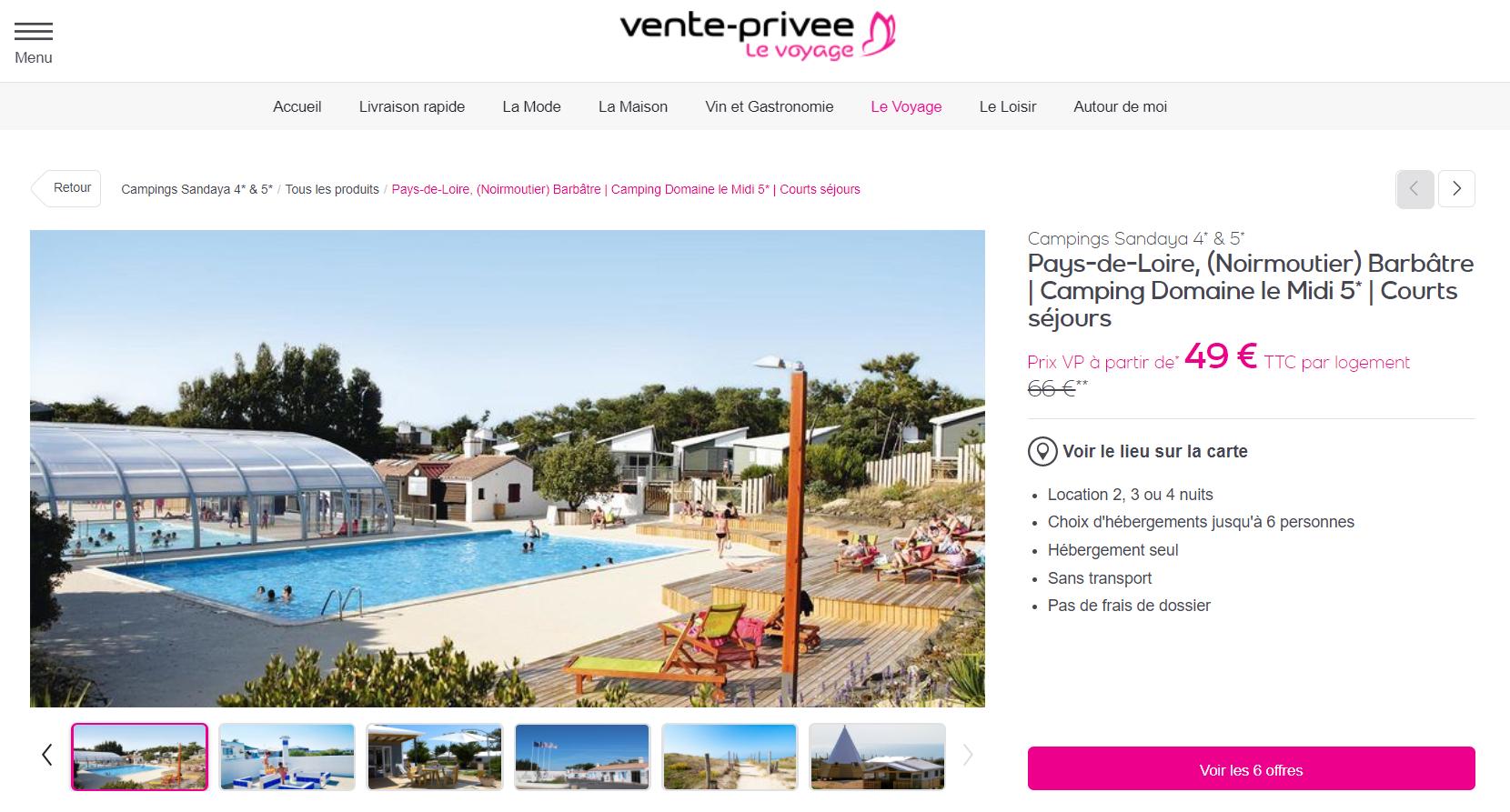 Week-End À Noirmoutier En Camping 5* Dès 10€ | Voyages Detective destiné Camping Noirmoutier Avec Piscine