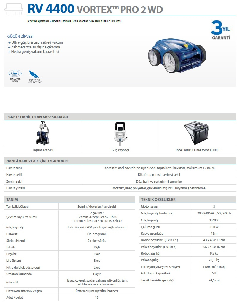 Zodiac Havuz Robotu Vortex Pro 2 Wd Rv 4400 avec Robot Piscine Zodiac Vortex 4