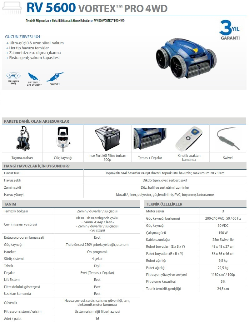 Zodiac Havuz Robotu Vortex Pro 4Wd Rv 5600 avec Robot Piscine Zodiac Vortex 4