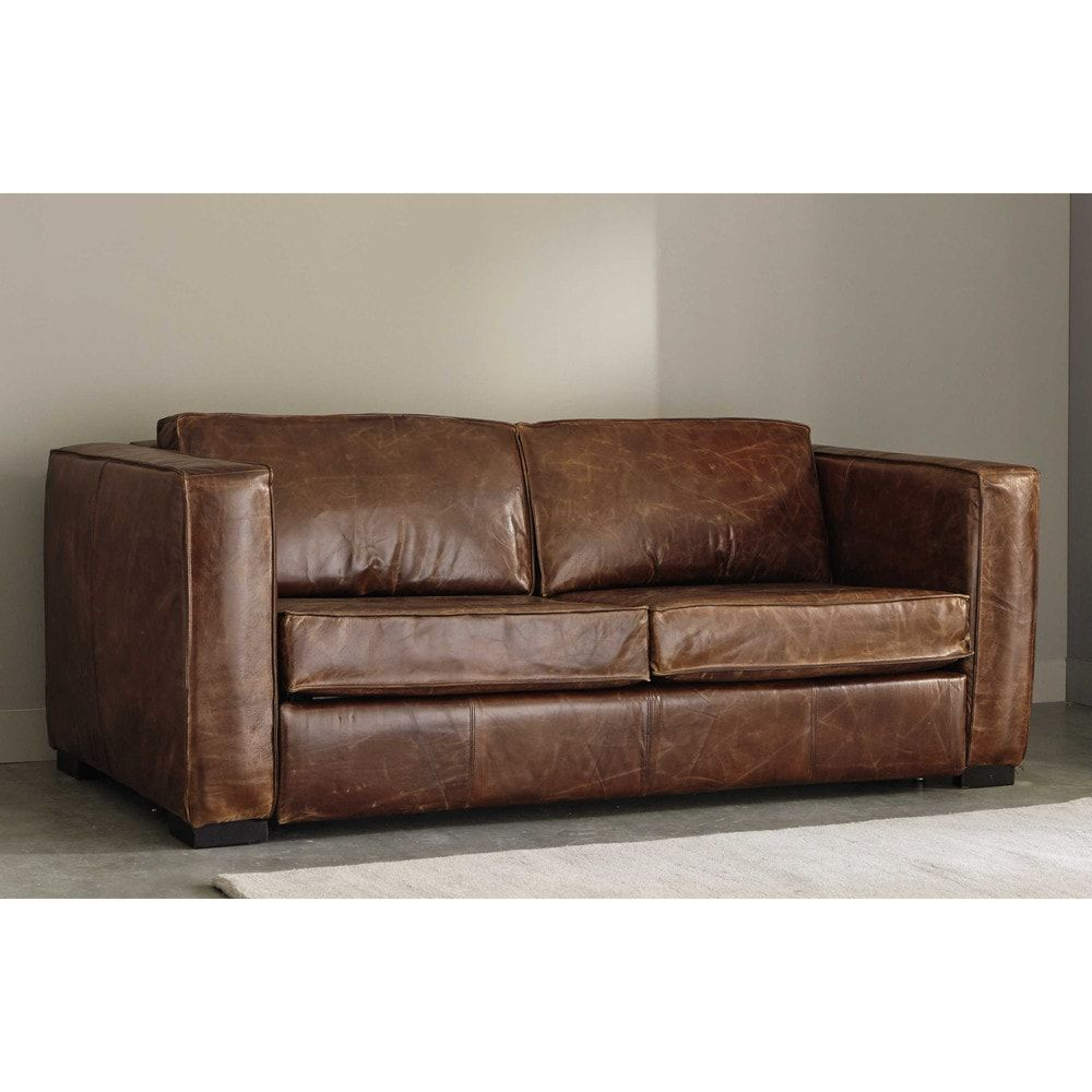 3 Seater Distressed Leather Sofa Bed In Brown | Maisons Du ... encequiconcerne Canape Chesterfield Convertible
