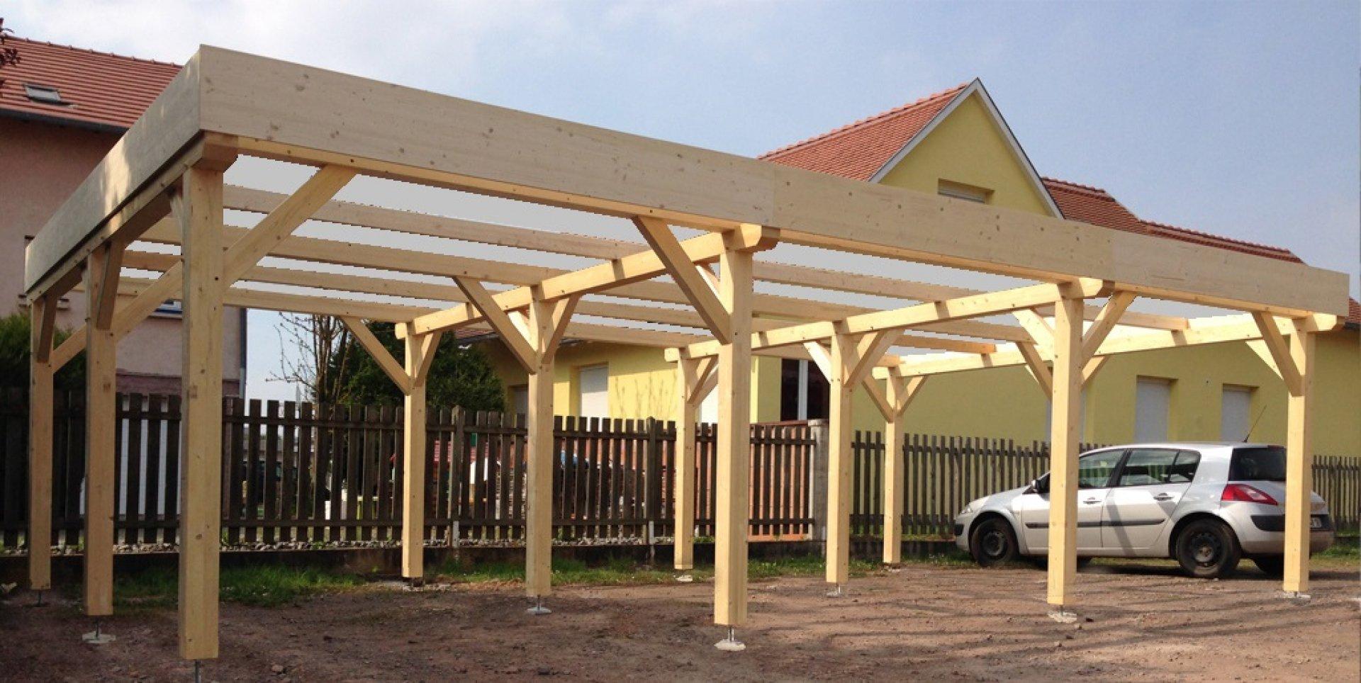 Abri Carport Toit Plat 3 Voitures - Vente En Ligne D'abris En Bois En Kit destiné Abri Bois Toit Plat
