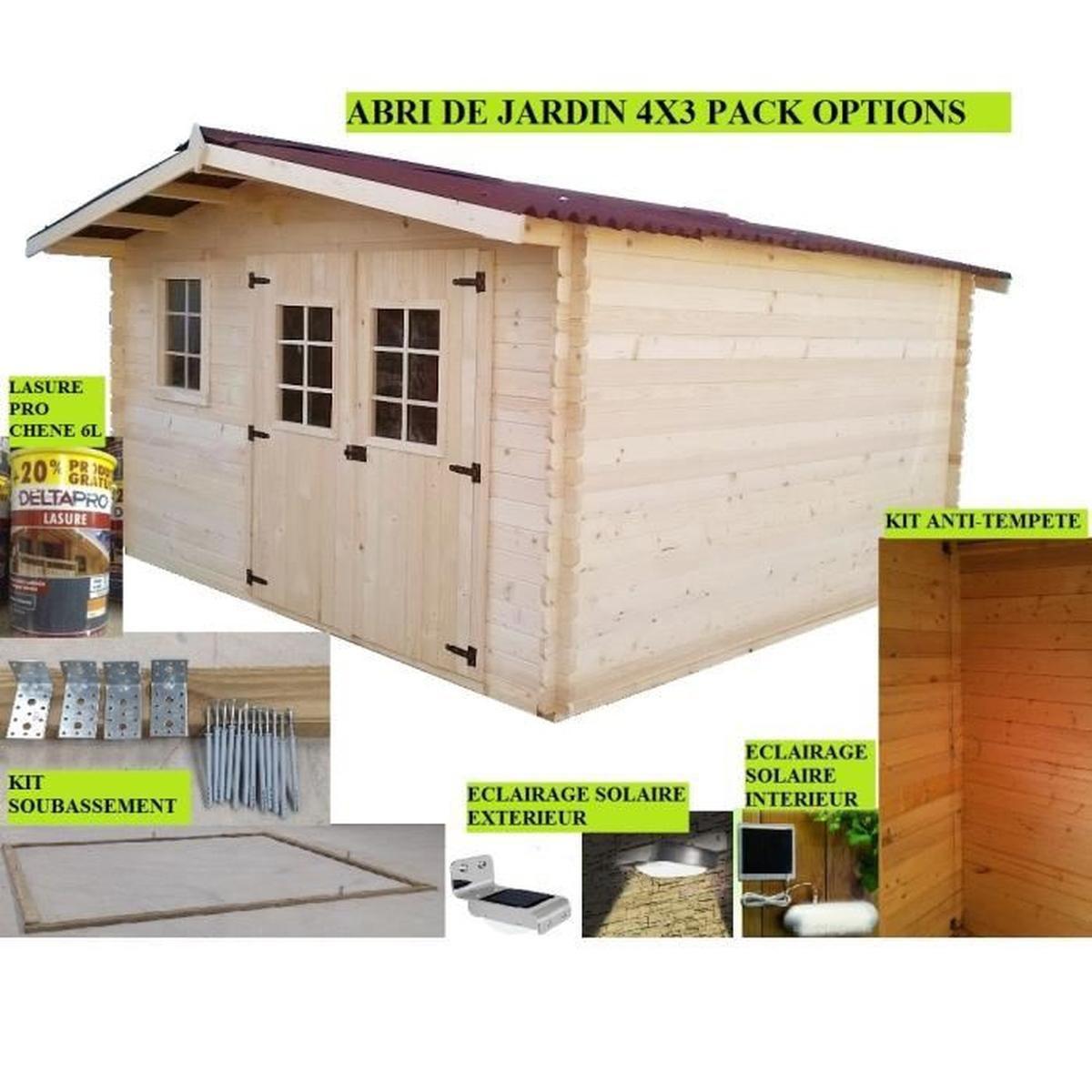Abri De Jardin 4X3 + Pack Options - Achat / Vente Abri ... concernant Abri De Jardin En Kit