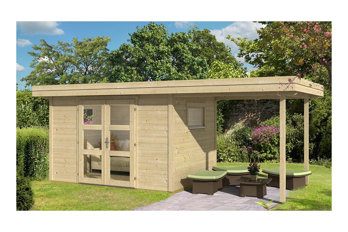 Abri De Jardin Annecy 4 28Mm - 7,3M² Intérieur + 5,2M² à Abri De Jardin Bois Toit Plat
