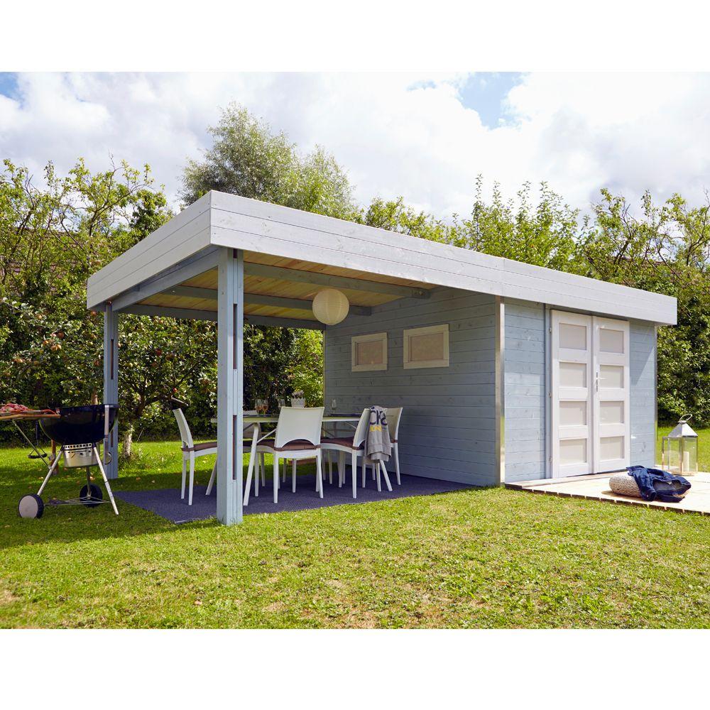 Abri De Jardin Bois Toit Plat + Auvent Lounj 20.37 M² Ep. 28 Mm concernant Pergola Toit Plat
