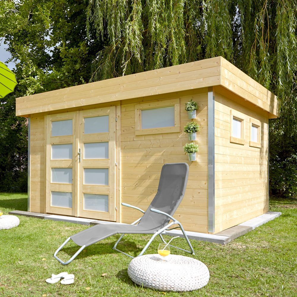 Abri De Jardin Bois Toit Plat Comfy 12,8 M² Ep. 28 Mm à Abri De Jardin Bois Toit Plat